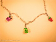 3 kawaii fruity cuties on silver chain