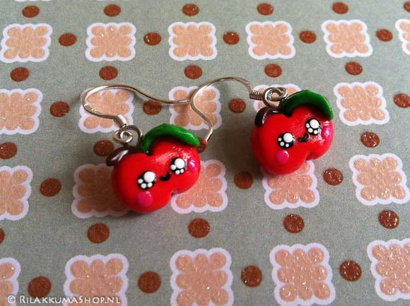Kawaii apple earrings handmade from Fimo polymer clay