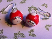Pair of Kawaii mushroom earrings small