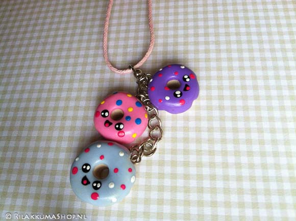 Kawaii Donut Necklace with three Charms