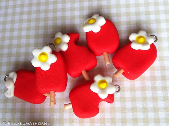 Kawaii Licht Rood Ijsje Popsicle Charms
