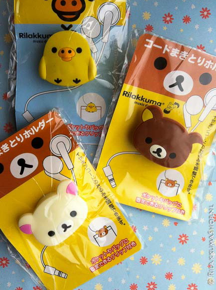 Kawaii Cute Rilakkuma, Korilakkuma, Kiiroitori Earphone Cable Organizer