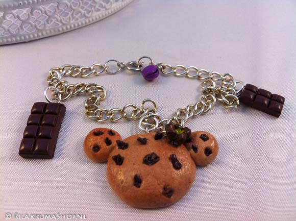 Kawaii cute Rilakkuma Chocolate chip Cookie with Chocolate Bars bracelet