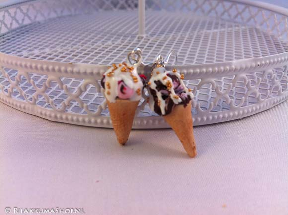 Cute Kawaii ice cream cone earrings