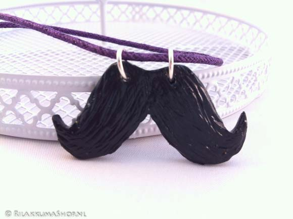 Kawaii Cute Mustache Charms on wax cord