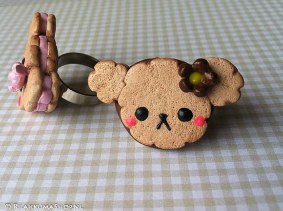 Kawaii cute Rilakkuma Cookie Strawberry, Chocolate Filled rings