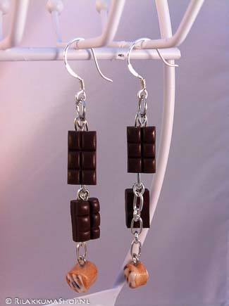 Kawaii cute Chocolate Bars & Cinnamon Rolls Sticky Bun earrings