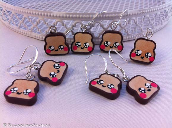 Kawaii so cute Bread Slice earrings