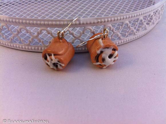Kawaii cute large Cinnamon Rolls Sticky Bun earrings