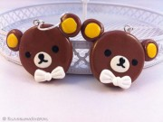 Kawaii cute Rilakkuma with a bow earrings