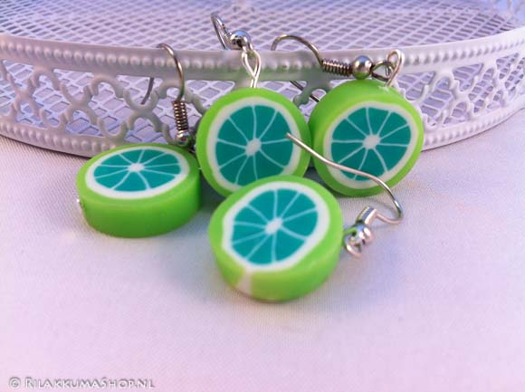 Cute Fimo clay Fruit canes earrings