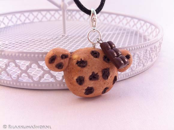 Kawaii cute Rilakkuma Chocolate chip Cookie with Chocolate Bar on wax cord