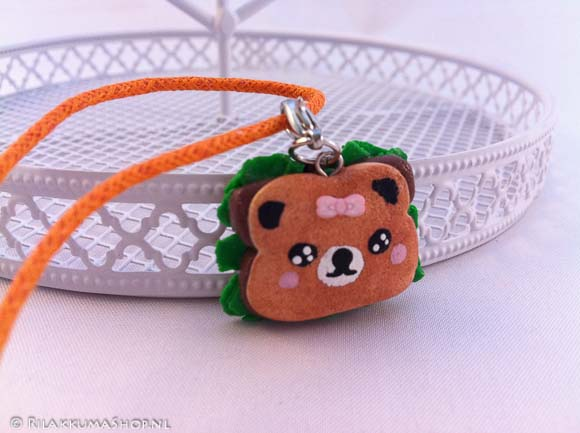 Kawaii cute Rilakkuma toast sandwich on wax cord