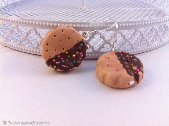 Kawaii cute Chocolate-Dipped Cookies with Sprinkles earrings