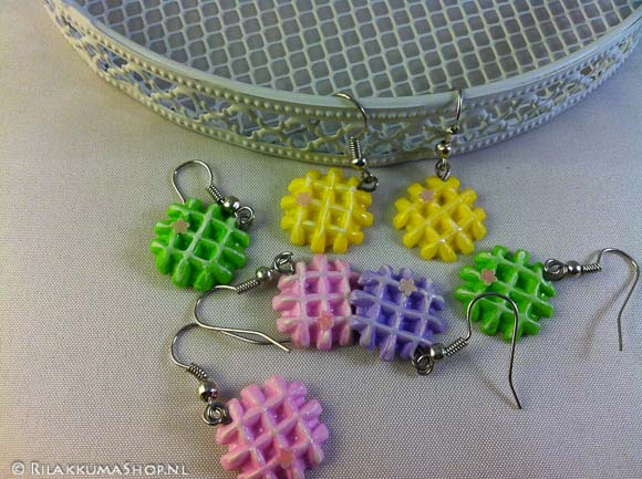 So cute Kawaii Colorful Waffle earrings