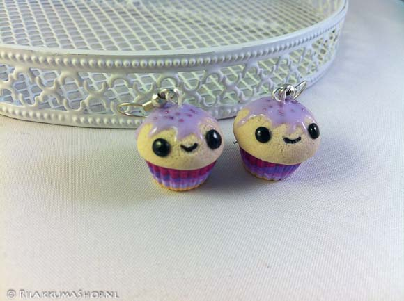 Kawaii so cute Colorful rainbow Cupcake earrings