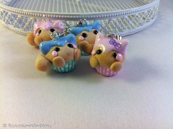 Kawaii cute Kitty Cupcake earrings