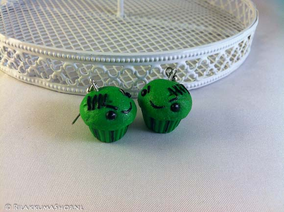 Kawaii Halloween Zombie Cupcake earrings