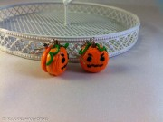 Kawaii Halloween Pumpkin Macarons earrings