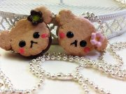Kawaii cute Rilakkuma Cookie Strawberry, Chocolate Filled necklace
