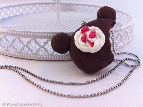 Kawaii Rilakkuma, Korilakkuma Cookie with Chocolate, Strawberry filling necklace