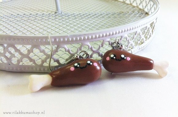 Kawaii cute HAPPY FRIED CHICKEN Drumstick earrings