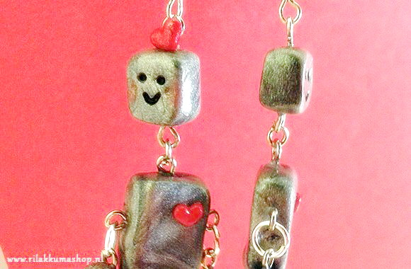 Kawaii Valentine's Day Silver Robot Polymer Clay earrings