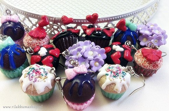 Kawaii Valentine's Day Flower cupcake earrings