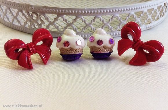 Kawaii Valentine's Day red Bow Polymer Clay earrings