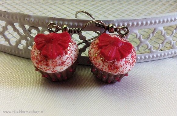 Kawaii Valentine's Day Strawberry Cheesecake Cupcake Polymer Clay earrings