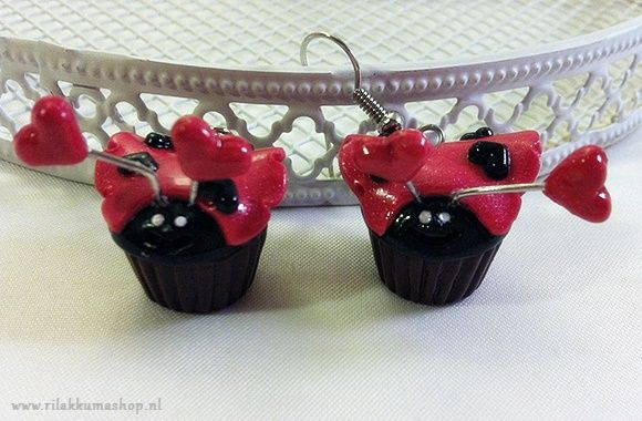 Kawaii Valentine's Day Ladybug Cupcake earrings