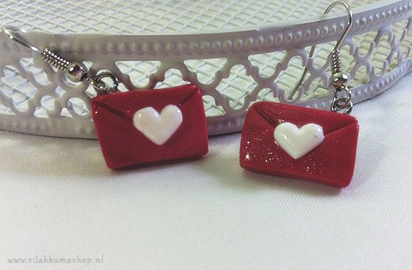 Kawaii Valentine's Day Envelope Polymer Clay earrings