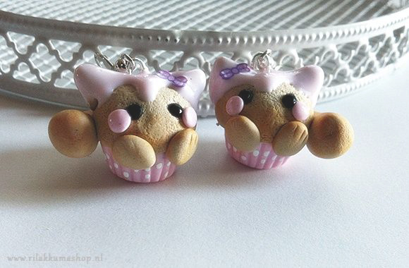 Kawaii cute pink Kitty Cupcake earrings