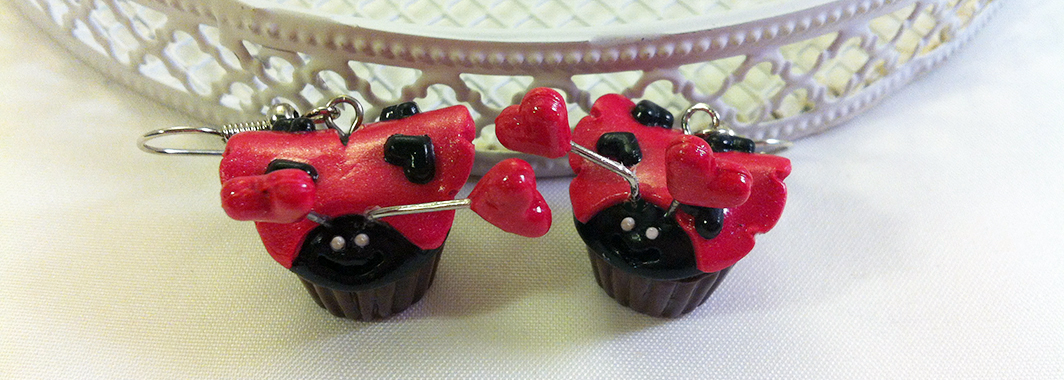 Kawaii Ladybug Cupcake earrings