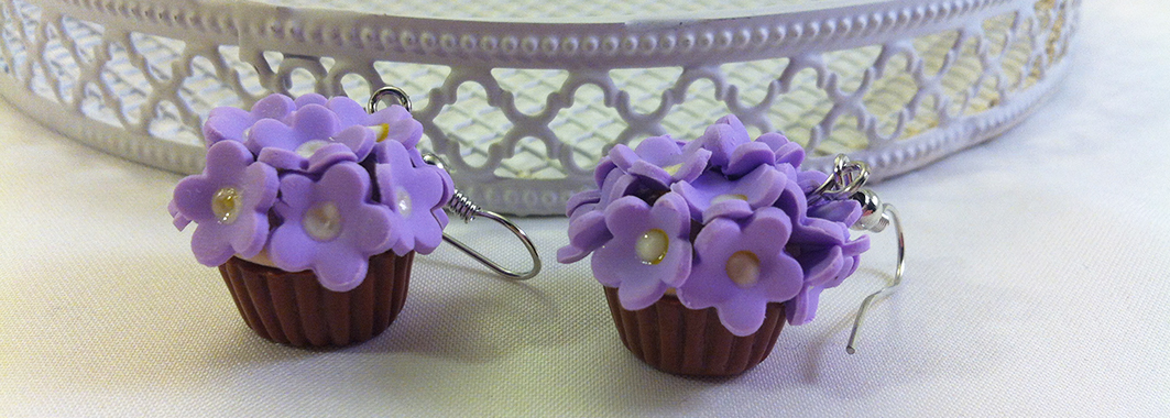 Kawaii Flower cupcake earrings