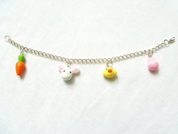 Kawaii Easter Bracelet, rabbit, carrots, egg, chick