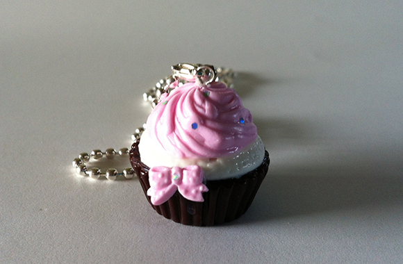 Kawaii Pink Cupcake with Bow necklace