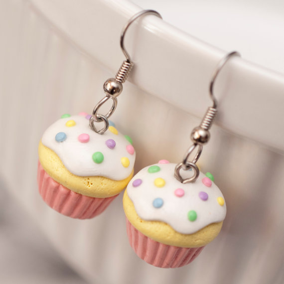 Kawaii cute Cupcake earrings