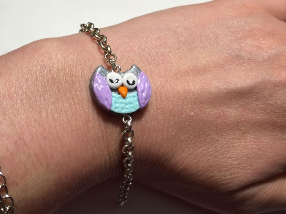 Cute Sleepy Owl bracelet Polymer Clay Jewelry