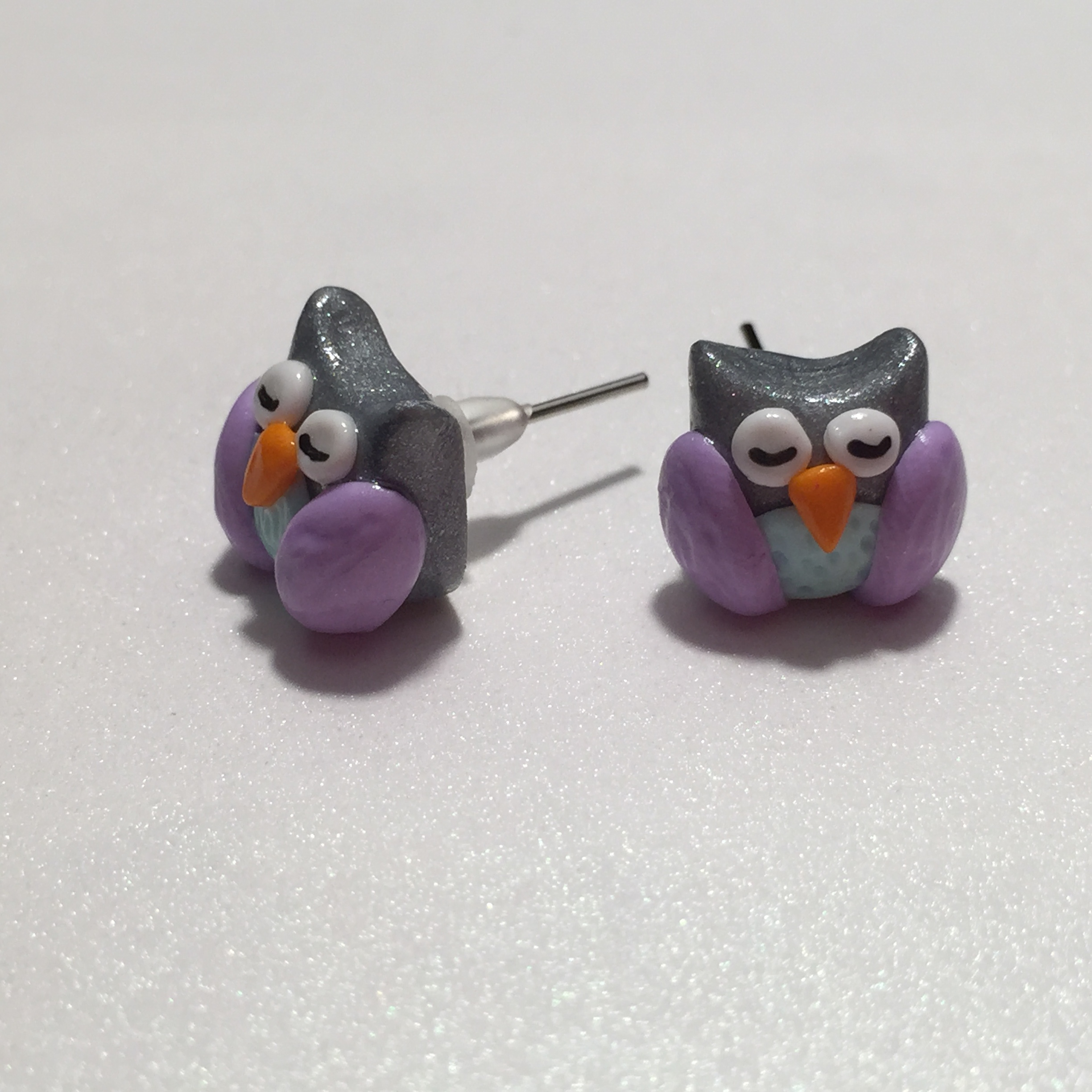 Cute Sleepy Owl earrings Polymer Clay Jewelry, Fimo clay, rilakkumashop.nl
