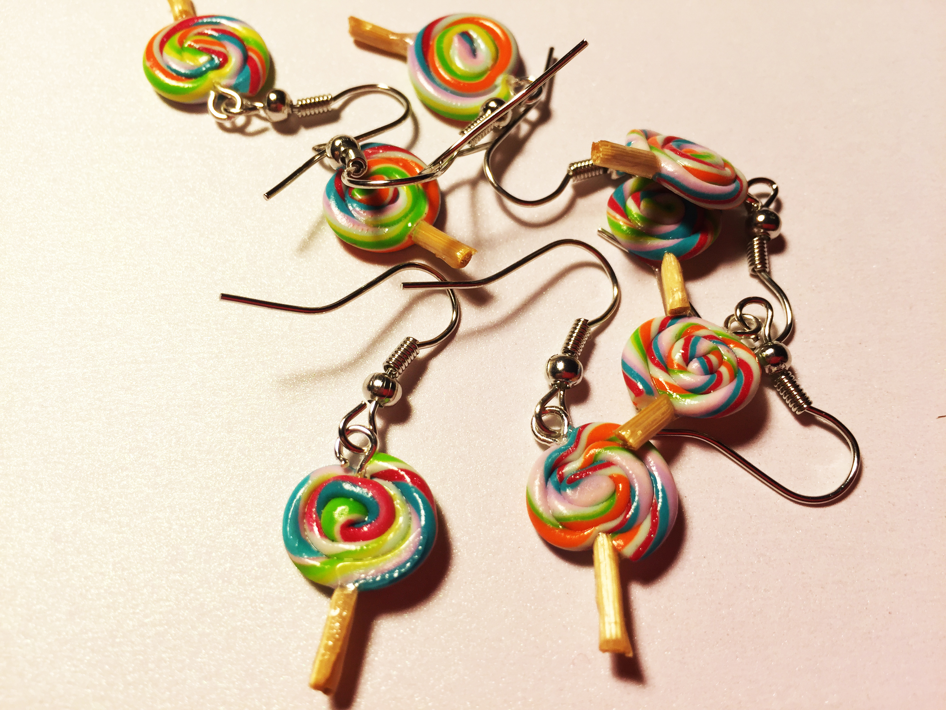 Cute Rainbow Lollipop earrings Polymer Clay