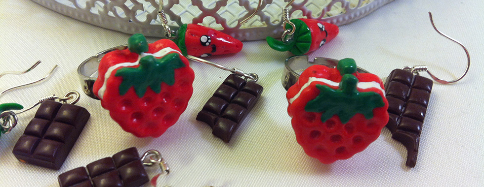 Kawaii strawberry earring Chocolate Bars earring, Rings